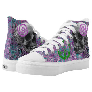 Pretty in pink Skull drawings. High Tops