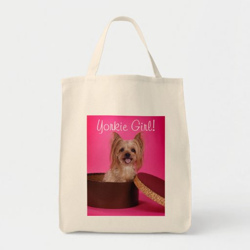 Pretty in Pink Yorkie Canvas Bags