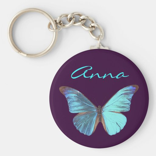 Pretty Iridescent Blue Butterfly Basic Round Button Key Ring