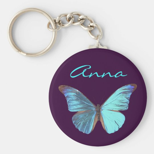 Pretty Iridescent Blue Butterfly Key Ring