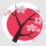 Pretty Japanese Cherry Blossom Classic Round Sticker