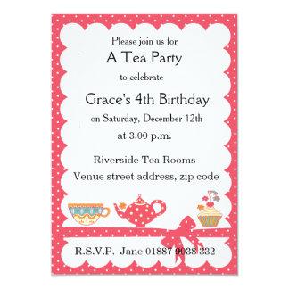Pretty Kids Tea Party Invitation