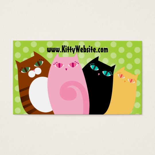 Pretty Kitties on Green Business Card