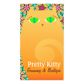 Pretty Kitty Orange & Floral Business Card Templates