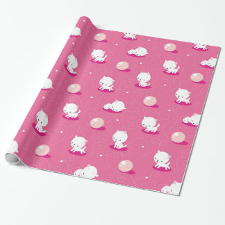 Pretty Kitty Pink Kittens Pattern Wrapping Paper