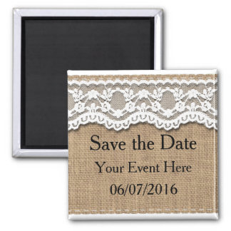 Pretty Lace and Burlap Save the Date Magnet