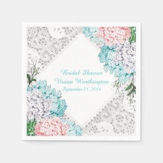 Pretty Lace and Hydrangeas Bridal Shower Napkins Paper Napkin