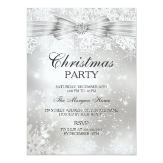 "Pretty Lace & Bow Silver Christmas Holiday Invite 6.5"" X 8.75"" Invitation Card"
