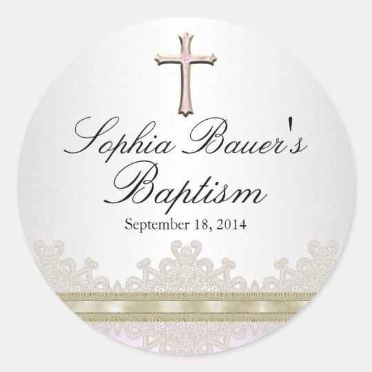 Pretty Lace & Cross Baptism Sticker