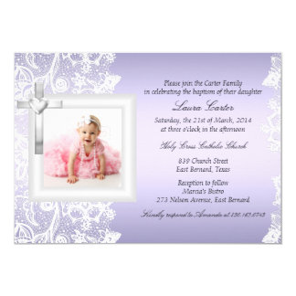 Pretty Lace & Cross Purple Baptism/Christening 13 Cm X 18 Cm Invitation Card