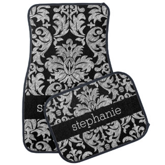 Pretty Lace Damask Pattern Black and White Car Mat