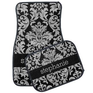 Pretty Lace Damask Pattern Black and White Car Mat