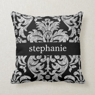 Pretty Lace Damask Pattern Black and White Pillows