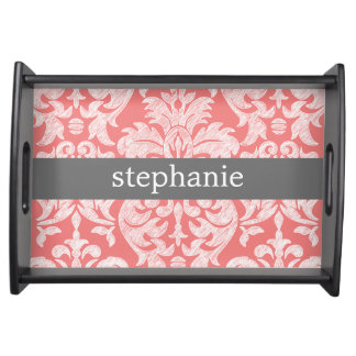 Pretty Lace Damask Pattern Coral Gray Serving Tray