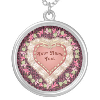 Pretty Lace Heart custom name round Necklace