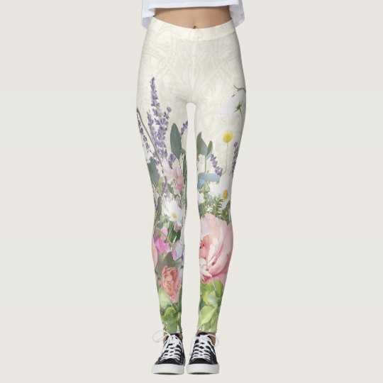 Pretty Lace Painted Floral Pink Peony Wild Flowers Leggings