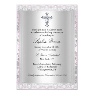 Pretty Lace Pink First Holy Communion 13 Cm X 18 Cm Invitation Card