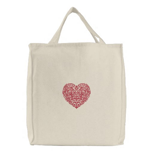 Pretty Lacy Embroidered Valentine Heart Tote Bag