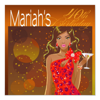 Pretty Lady Birthday Cocktail Party amber/red 13 Cm X 13 Cm Square Invitation Card