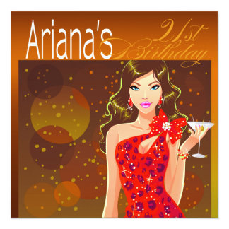 Pretty Lady Birthday Cocktail Party amber/red 5.25x5.25 Square Paper Invitation Card