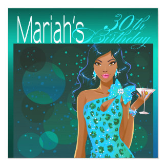 Pretty Lady Birthday Cocktail Party teal/aqua Card