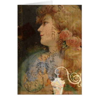 Pretty Lady Vintage Digital Collage Greeting Card