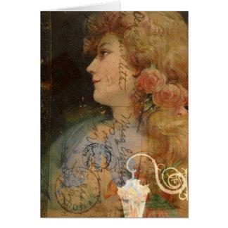Pretty Lady Vintage Digital Collage Greeting Card