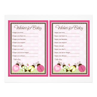 Pretty Ladybugs & Flowers Wishes For Baby 21.5 Cm X 28 Cm Flyer