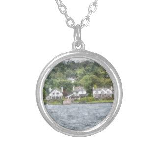Pretty lakescape round pendant necklace