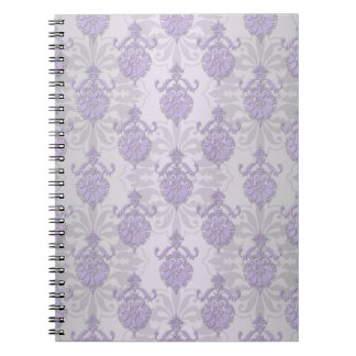 Pretty Lavender and Silvery White Damask Spiral Notebook