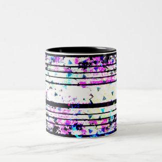 Pretty Lavender Blue Triangle Black White Stripe Two-Tone Coffee Mug