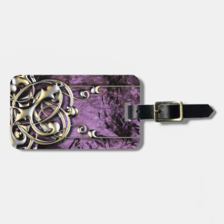 Pretty Lavender Grunge Gold Abstract Fantasy Tags For Luggage