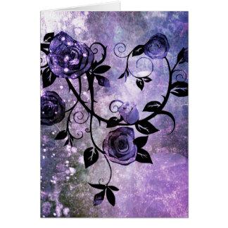 Pretty Lavender Purple Grunge Rose Vine Design Greeting Card