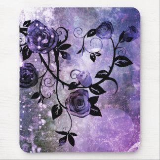 Pretty Lavender Purple Grunge Rose Vine Design Mouse Pad
