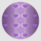 Pretty Lavender Purple Hearts Damask Classic Round Sticker