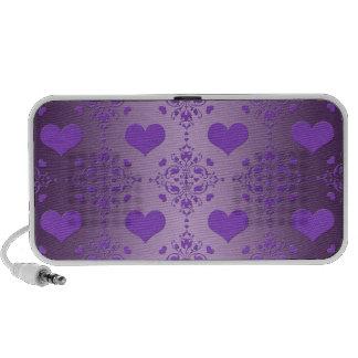 Pretty Lavender Purple Hearts Damask Travel Speaker
