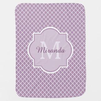 Pretty Lavender Purple Quatrefoil Monogrammed Name Baby Blanket