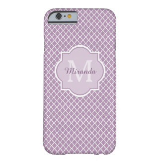 Pretty Lavender Purple Quatrefoil Monogrammed Name Barely There iPhone 6 Case