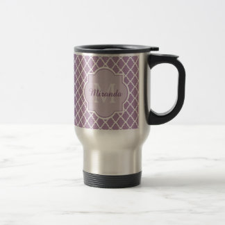 Pretty Lavender Purple Quatrefoil Monogrammed Name Travel Mug