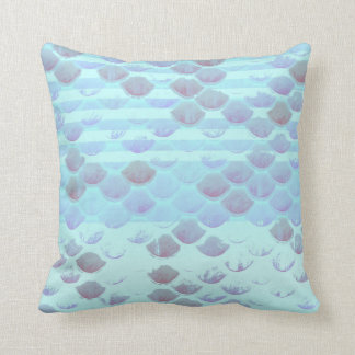 Pretty Light Blue Striped Mermaid Fish Scales Cushion
