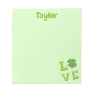 Pretty Light Green Love Block Letter Notepad