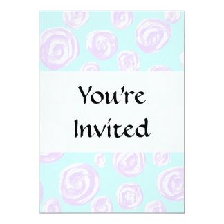 Pretty Lilac and Turquoise Floral Pattern. 13 Cm X 18 Cm Invitation Card