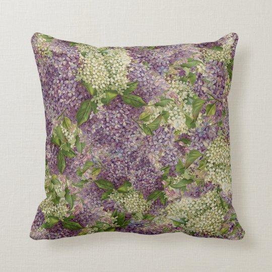 Pretty Lilac Striped Modern Vintage Floral Pattern Cushion