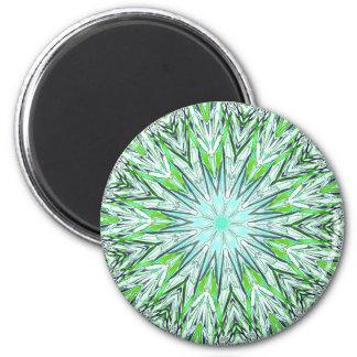 Pretty Lime Green Snowflake Shaped Mandala 6 Cm Round Magnet