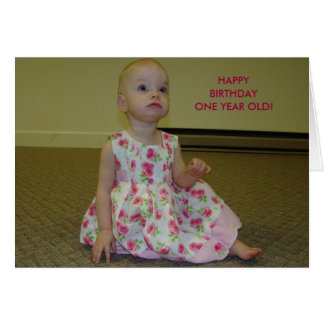 Pretty Litte Miss, HAPPYBIRTHDAYONE YEAR OLD! Greeting Card
