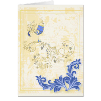 Pretty Little Blue Bird With Flowers Greeting Cards