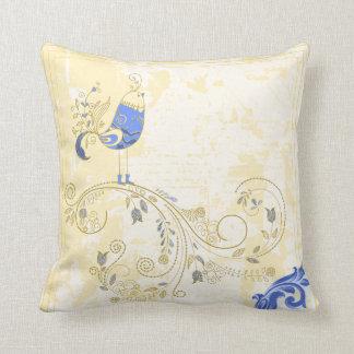 Pretty Little Blue Bird With Flowers Throw Pillows