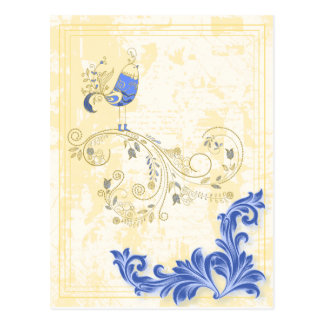 Pretty Little Blue Bird With Flowers Postcard
