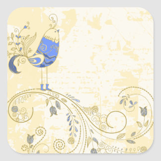 Pretty Little Blue Bird With Flowers Square Stickers