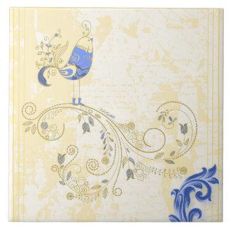 Pretty Little Blue Bird With Flowers Tile